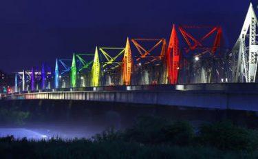 明日を照らす虹色 長生橋ライトアップ