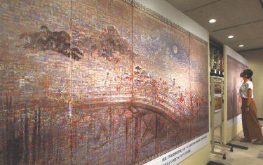 写真9975枚で阿波踊り屏風 モザイクアート完成、阿波おどり会館