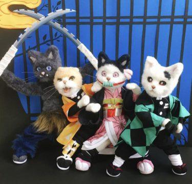 炭治郎、禰豆子がネコの姿に…! フェルトで作った「鬼滅のにゃいば」が驚きのクオリティ