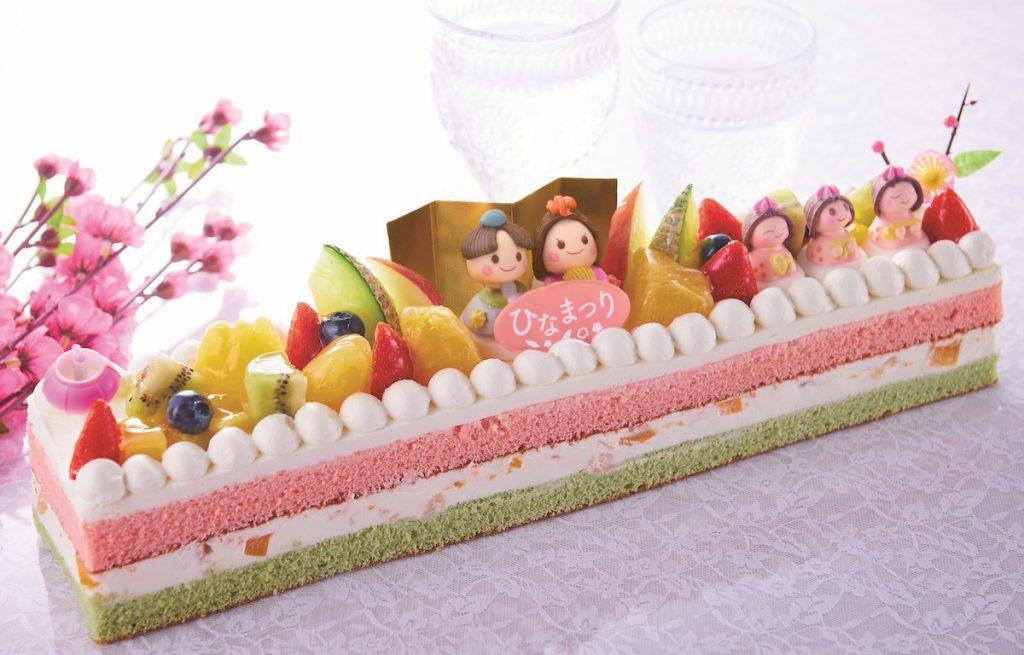 シャトレーゼのひなまつりケーキ「ひなかざり ロングデコレーション」