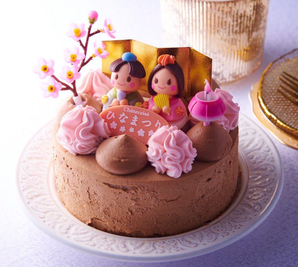 シャトレーゼのひなまつりケーキ「桃の節句 パリパリ食感の楽しめるチョコデコレーション」