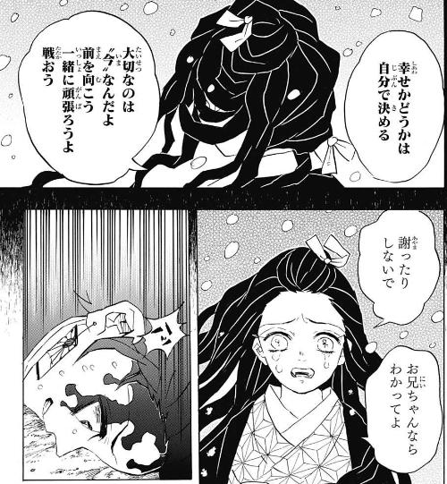 竈門禰豆子の名言「幸せかどうかは自分で決める 大切なのは今なんだよ 前を向こう 一緒に頑張ろうよ 戦おう」