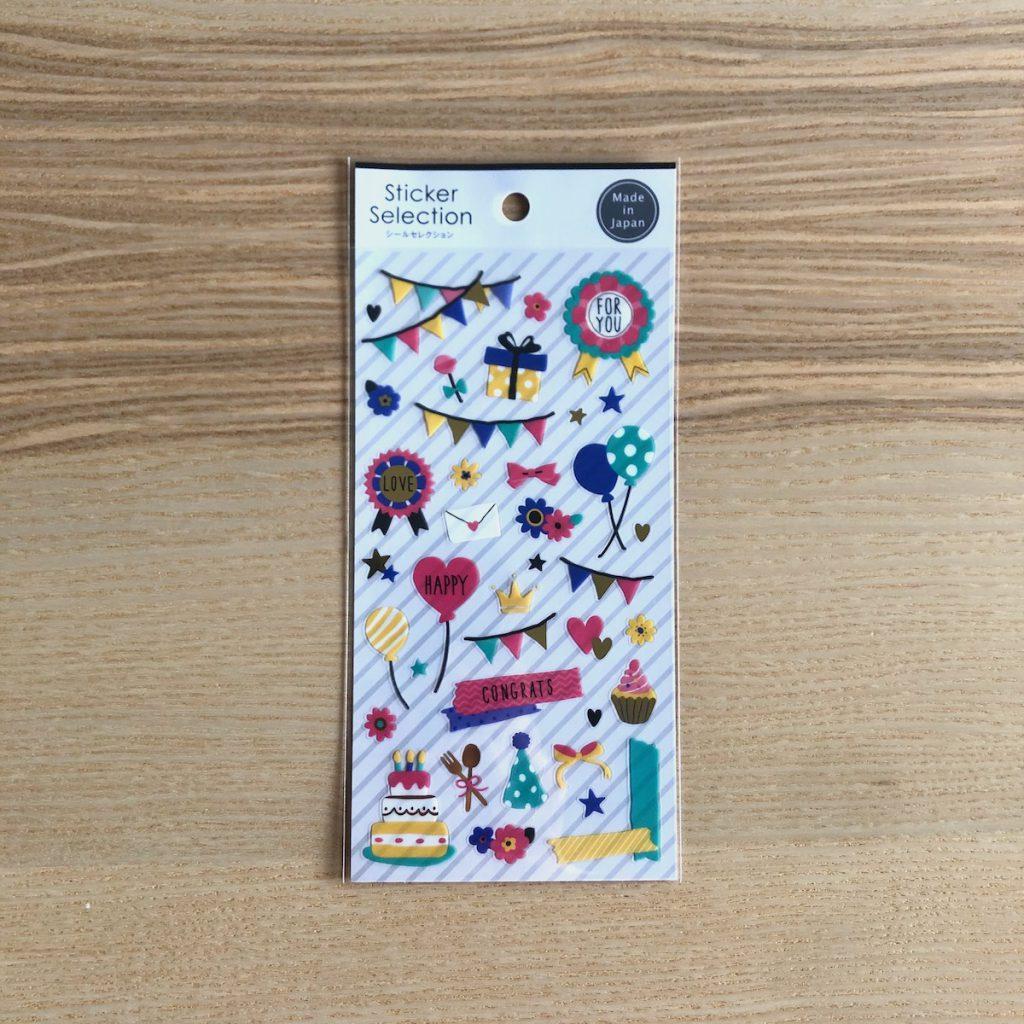 セリアで買えるスクラップブックの材料「シールセレクション(デコレーションシール パーティー)」
