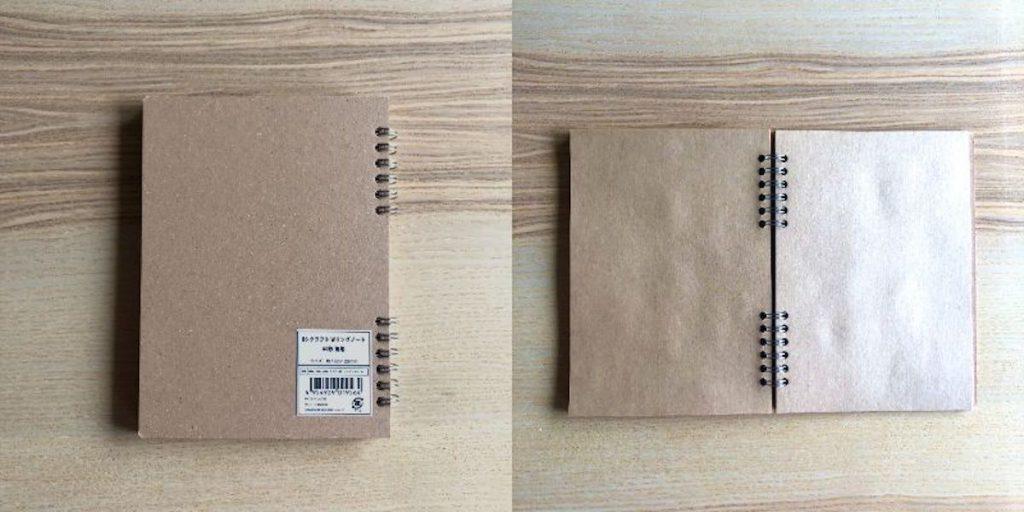セリアで購入できるスクラップブックの材料「B6クラフトWリングノート60枚 無地」