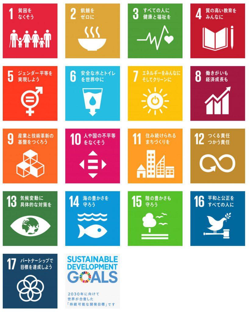 SDGsの17の目標(国連広報センターより)