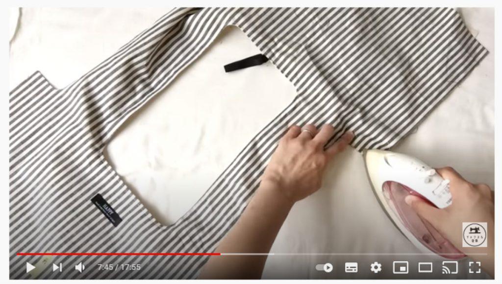 手順13.アイロンでおさえてから反対側の持ち手も同様に手順8.~手順12.の要領で縫ってから裏返します。_1