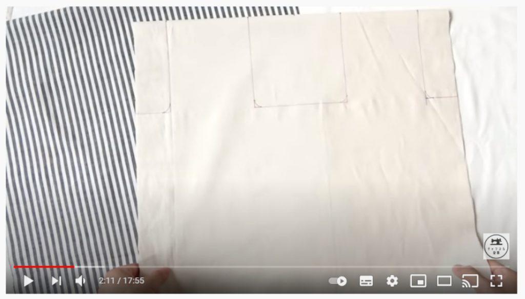手順1.生地を中表に重ねて型紙をうつし、表地と裏地を重ねて裁断します。_2